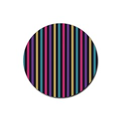 Stripes Colorful Multi Colored Bright Stripes Wallpaper Background Pattern Rubber Round Coaster (4 pack)