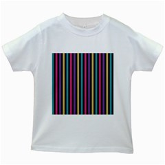 Stripes Colorful Multi Colored Bright Stripes Wallpaper Background Pattern Kids White T Shirts