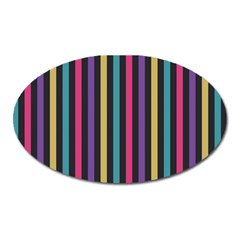 Stripes Colorful Multi Colored Bright Stripes Wallpaper Background Pattern Oval Magnet
