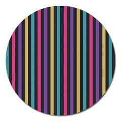 Stripes Colorful Multi Colored Bright Stripes Wallpaper Background Pattern Magnet 5  (round)