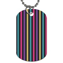 Stripes Colorful Multi Colored Bright Stripes Wallpaper Background Pattern Dog Tag (one Side)