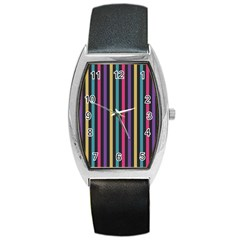 Stripes Colorful Multi Colored Bright Stripes Wallpaper Background Pattern Barrel Style Metal Watch