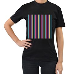 Stripes Colorful Multi Colored Bright Stripes Wallpaper Background Pattern Women s T Shirt (black) (two Sided)