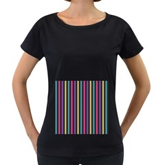 Stripes Colorful Multi Colored Bright Stripes Wallpaper Background Pattern Women s Loose Fit T Shirt (black)