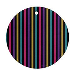 Stripes Colorful Multi Colored Bright Stripes Wallpaper Background Pattern Round Ornament (two Sides)