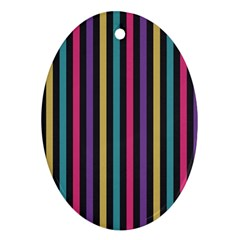 Stripes Colorful Multi Colored Bright Stripes Wallpaper Background Pattern Oval Ornament (Two Sides)