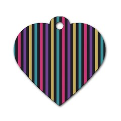 Stripes Colorful Multi Colored Bright Stripes Wallpaper Background Pattern Dog Tag Heart (one Side)