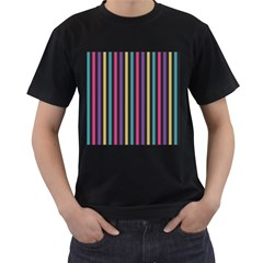Stripes Colorful Multi Colored Bright Stripes Wallpaper Background Pattern Men s T Shirt (black)