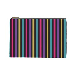 Stripes Colorful Multi Colored Bright Stripes Wallpaper Background Pattern Cosmetic Bag (Large)