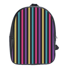 Stripes Colorful Multi Colored Bright Stripes Wallpaper Background Pattern School Bags(Large)