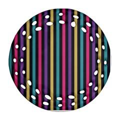 Stripes Colorful Multi Colored Bright Stripes Wallpaper Background Pattern Ornament (round Filigree)