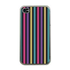 Stripes Colorful Multi Colored Bright Stripes Wallpaper Background Pattern Apple iPhone 4 Case (Clear)