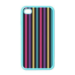 Stripes Colorful Multi Colored Bright Stripes Wallpaper Background Pattern Apple iPhone 4 Case (Color)