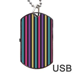 Stripes Colorful Multi Colored Bright Stripes Wallpaper Background Pattern Dog Tag Usb Flash (one Side)