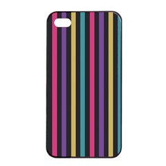 Stripes Colorful Multi Colored Bright Stripes Wallpaper Background Pattern Apple Iphone 4/4s Seamless Case (black)