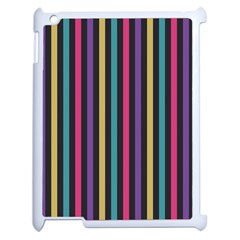 Stripes Colorful Multi Colored Bright Stripes Wallpaper Background Pattern Apple Ipad 2 Case (white)