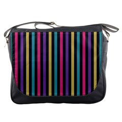 Stripes Colorful Multi Colored Bright Stripes Wallpaper Background Pattern Messenger Bags