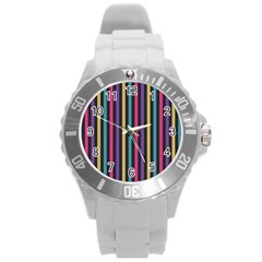 Stripes Colorful Multi Colored Bright Stripes Wallpaper Background Pattern Round Plastic Sport Watch (L)