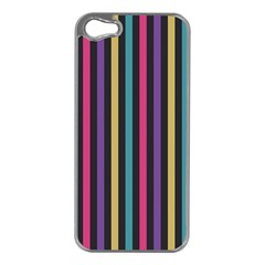 Stripes Colorful Multi Colored Bright Stripes Wallpaper Background Pattern Apple iPhone 5 Case (Silver)