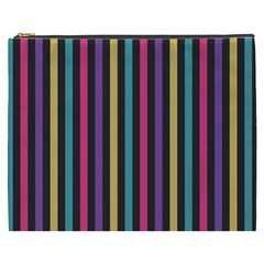 Stripes Colorful Multi Colored Bright Stripes Wallpaper Background Pattern Cosmetic Bag (XXXL)
