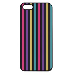 Stripes Colorful Multi Colored Bright Stripes Wallpaper Background Pattern Apple iPhone 5 Seamless Case (Black)