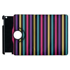 Stripes Colorful Multi Colored Bright Stripes Wallpaper Background Pattern Apple iPad 2 Flip 360 Case
