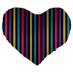 Stripes Colorful Multi Colored Bright Stripes Wallpaper Background Pattern Large 19  Premium Heart Shape Cushions