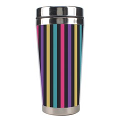 Stripes Colorful Multi Colored Bright Stripes Wallpaper Background Pattern Stainless Steel Travel Tumblers