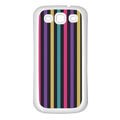 Stripes Colorful Multi Colored Bright Stripes Wallpaper Background Pattern Samsung Galaxy S3 Back Case (White)