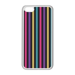 Stripes Colorful Multi Colored Bright Stripes Wallpaper Background Pattern Apple iPhone 5C Seamless Case (White)