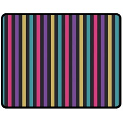 Stripes Colorful Multi Colored Bright Stripes Wallpaper Background Pattern Double Sided Fleece Blanket (Medium)