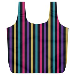 Stripes Colorful Multi Colored Bright Stripes Wallpaper Background Pattern Full Print Recycle Bags (L)