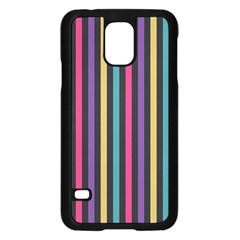 Stripes Colorful Multi Colored Bright Stripes Wallpaper Background Pattern Samsung Galaxy S5 Case (Black)