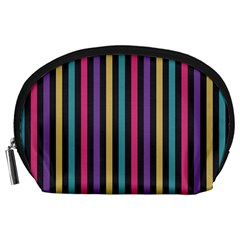 Stripes Colorful Multi Colored Bright Stripes Wallpaper Background Pattern Accessory Pouches (Large)