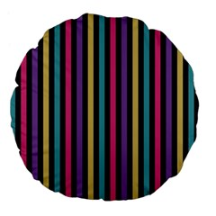 Stripes Colorful Multi Colored Bright Stripes Wallpaper Background Pattern Large 18  Premium Flano Round Cushions