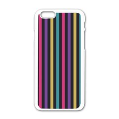 Stripes Colorful Multi Colored Bright Stripes Wallpaper Background Pattern Apple iPhone 6/6S White Enamel Case
