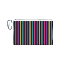 Stripes Colorful Multi Colored Bright Stripes Wallpaper Background Pattern Canvas Cosmetic Bag (S)