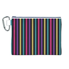 Stripes Colorful Multi Colored Bright Stripes Wallpaper Background Pattern Canvas Cosmetic Bag (l)
