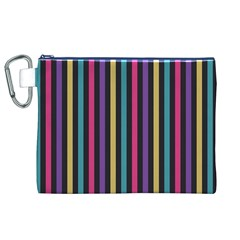 Stripes Colorful Multi Colored Bright Stripes Wallpaper Background Pattern Canvas Cosmetic Bag (xl)