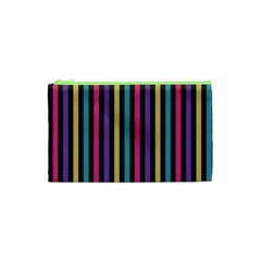 Stripes Colorful Multi Colored Bright Stripes Wallpaper Background Pattern Cosmetic Bag (xs)