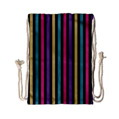Stripes Colorful Multi Colored Bright Stripes Wallpaper Background Pattern Drawstring Bag (small)