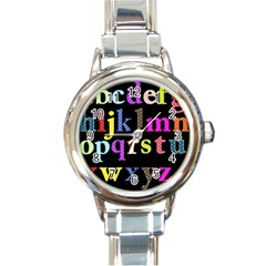 Alphabet Letters Colorful Polka Dots Letters In Lower Case Round Italian Charm Watch