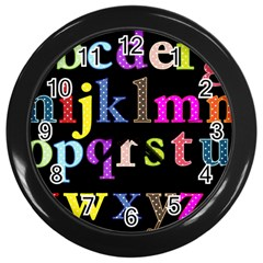 Alphabet Letters Colorful Polka Dots Letters In Lower Case Wall Clocks (black)