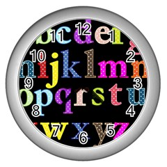 Alphabet Letters Colorful Polka Dots Letters In Lower Case Wall Clocks (Silver)