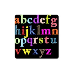 Alphabet Letters Colorful Polka Dots Letters In Lower Case Square Magnet