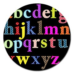 Alphabet Letters Colorful Polka Dots Letters In Lower Case Magnet 5  (Round)
