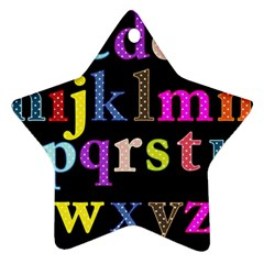 Alphabet Letters Colorful Polka Dots Letters In Lower Case Star Ornament (two Sides)