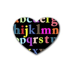 Alphabet Letters Colorful Polka Dots Letters In Lower Case Rubber Coaster (heart)