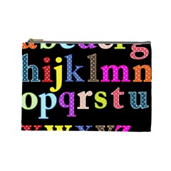 Alphabet Letters Colorful Polka Dots Letters In Lower Case Cosmetic Bag (large)