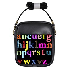Alphabet Letters Colorful Polka Dots Letters In Lower Case Girls Sling Bags